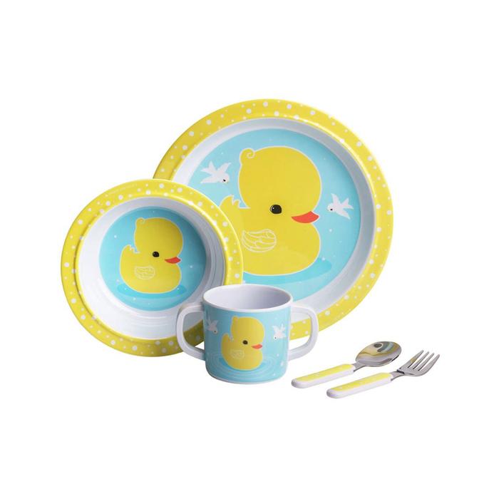 ALLC Little Lovely Company - Kindergeschirr Set Ente Gelb/Blau 5-teilig
