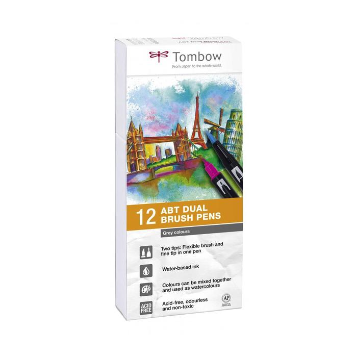 Tombow - ABT Dual Brush Pen Set Grautöne 12er Set