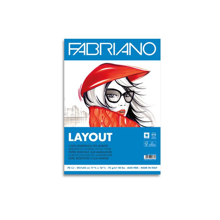 Fabriano - Layout Block A4 Zeichenpapier Weiss 70 Seiten